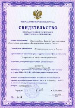 Свидетельство о государственной регистрации Федерации каратэномичи России